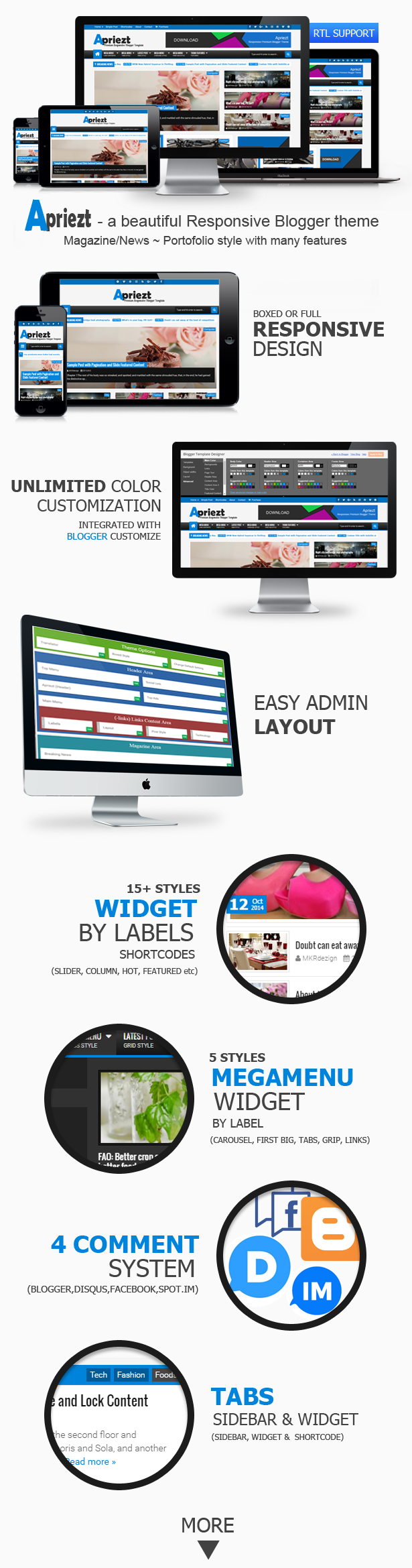 Apriezt Responsive Blogger Theme Features
