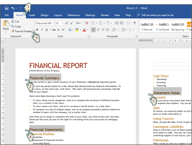 "Menerapkan format Painter pada ""Financial Statements"" dan ""Statement Notes"""