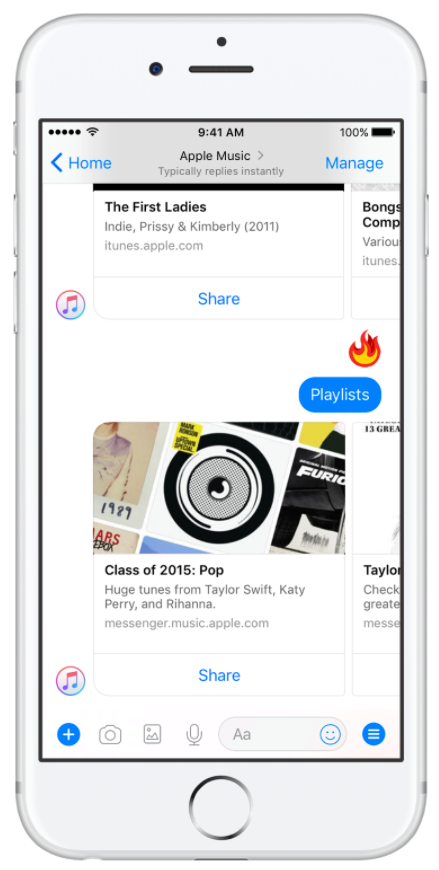 facebook-launched-apple-music-on-messenger