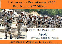 Indian Army Recruitment for SSC Officers Posts 2017