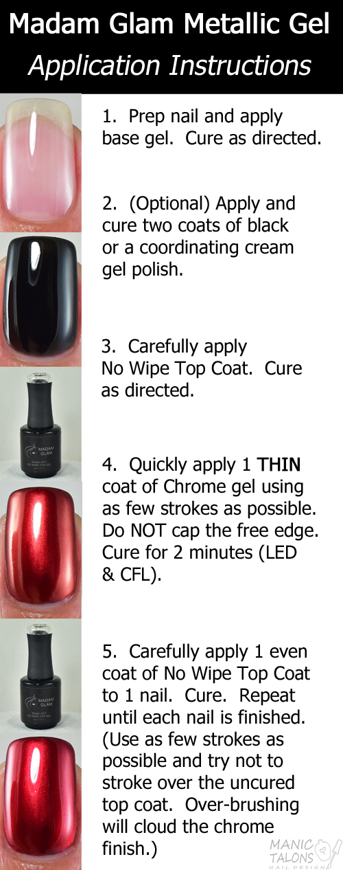 Madam Glam Metallic Gel Application Cheat Sheet