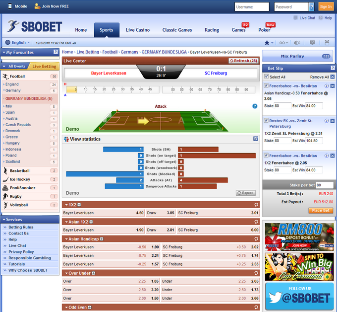 Sbobet Screen