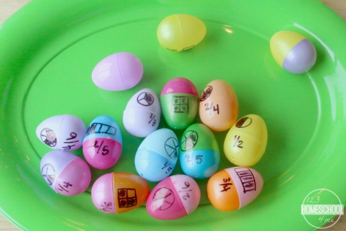 Fun Fractions Game For Homeschool Students Using Plastic Easter Eggs