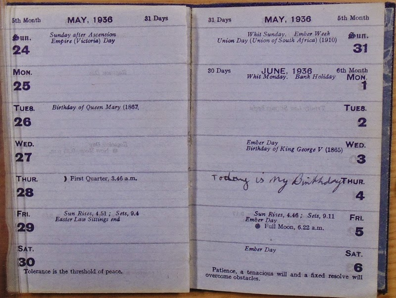 Blue diary - June 4 entry - Kenneth C. Howard's birthday? (National Archives KV 2/27)