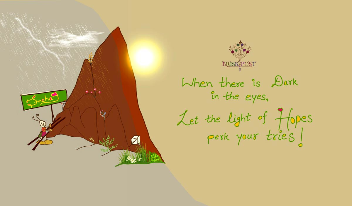How to hope and gain light, learn from ant climbing mountain with hope: quote cartoon by Sneha