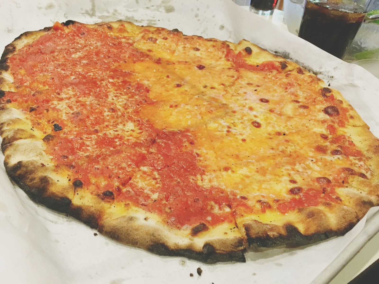 pizza at Frank Pepe - a restaurant in New Haven, Connecticut