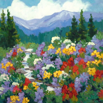 "Contemporary Colorado Landscape Painting ""Wildflower Song"" by Colorado Artist Laura Reilly"
