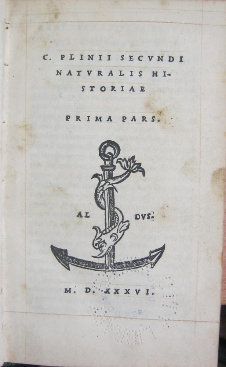 plinius caecilius secundus gaius 61 113 naturalis historiae ed andreas rabirius venetiis in aed haer aldi c 1535 4 vol
