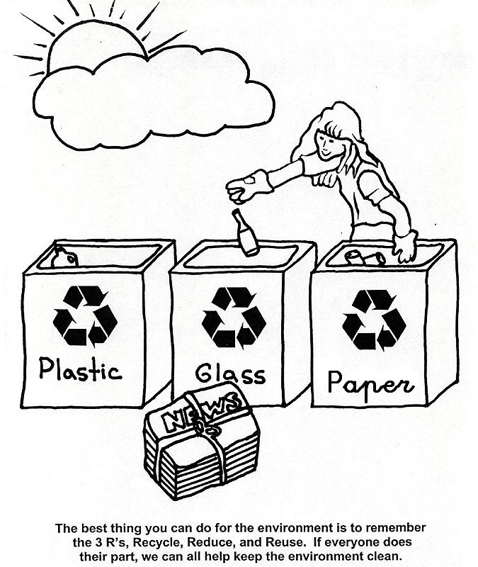 Recycle symbol coloring page for Recycling coloring pages