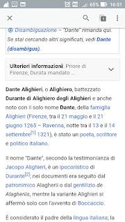 Wikipedia applicazione menu alto