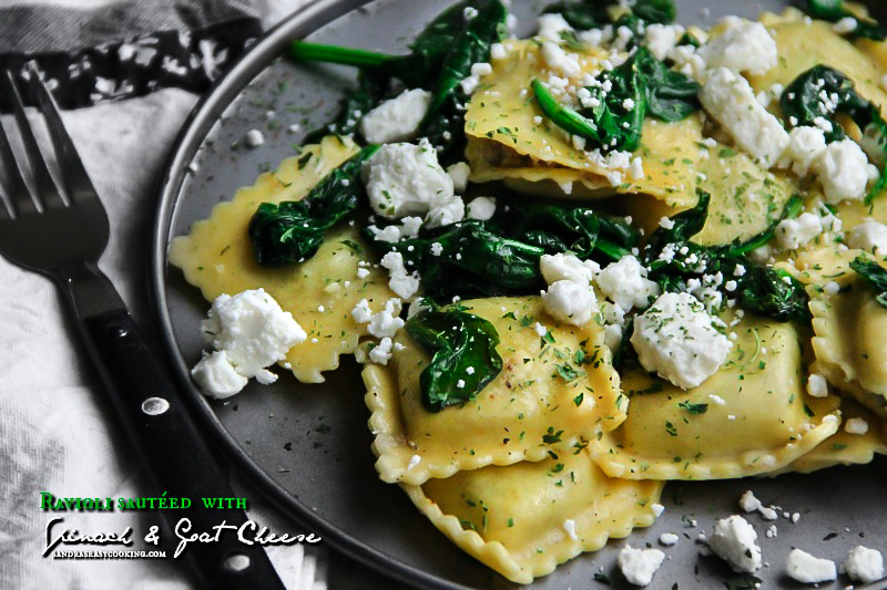 Ravioli sautéed with Spinach & Goat Cheese for more recipe visit sandraseasycooking.com