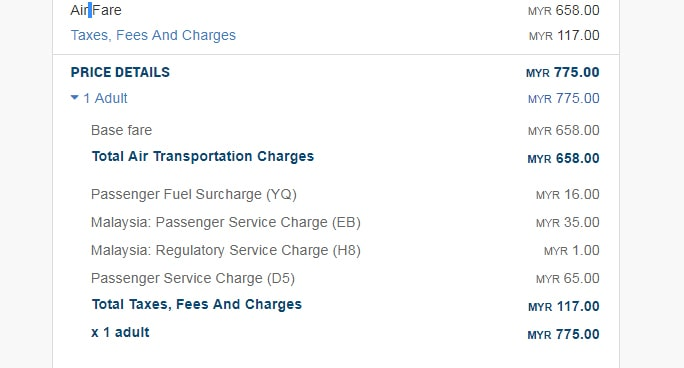 Booking fees taxes for Malaysia Airlines