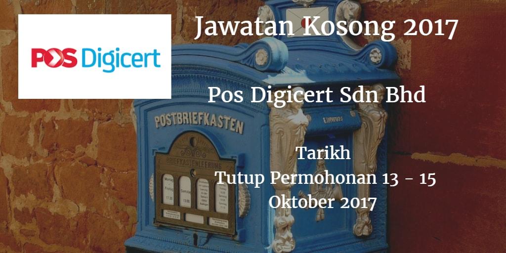 Jawatan Kosong Pos Digicert Sdn Bhd 13 - 15 Oktober 2017