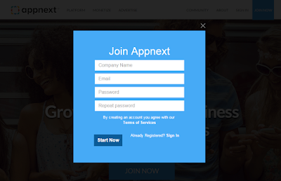 how to sign up at appnext