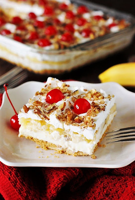 Slice of No-Bake Banana Split Cake Image