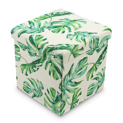 Shop the Tropical Leaves Pattern Folding Storage Ottoman - Split Leaf Philodendron at NileCorp.com