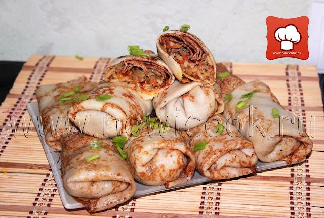 рецепт вкусных фаршированных блинчиков с мясом