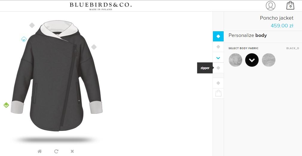 9fb44c271 BlueBirds to chyba polska pierwsza marka, która udostępniła kreator ubrań.  Do wyboru mamy parę opcji: dwie sukienki, dwie bluzki, kurtkę i spódnice ...