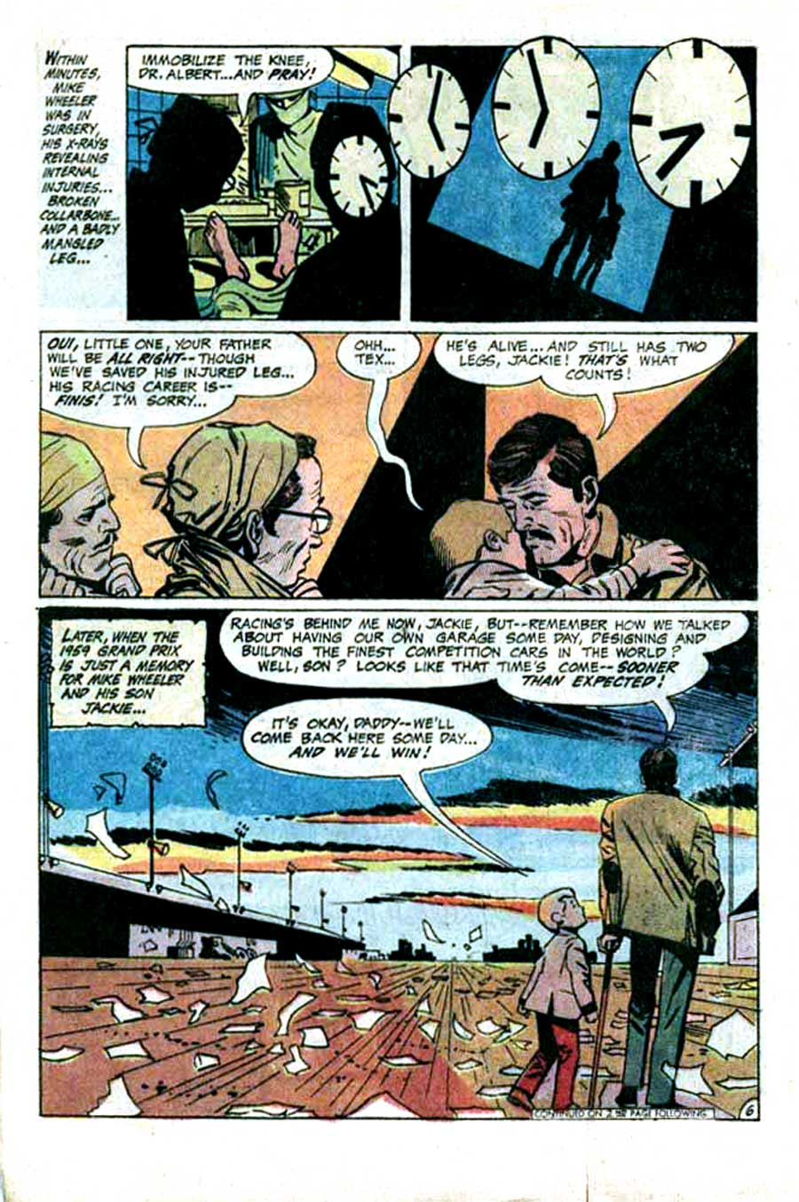 Hot Wheels v1 #1 dc 1970s bronze age comic book page art by Alex Toth