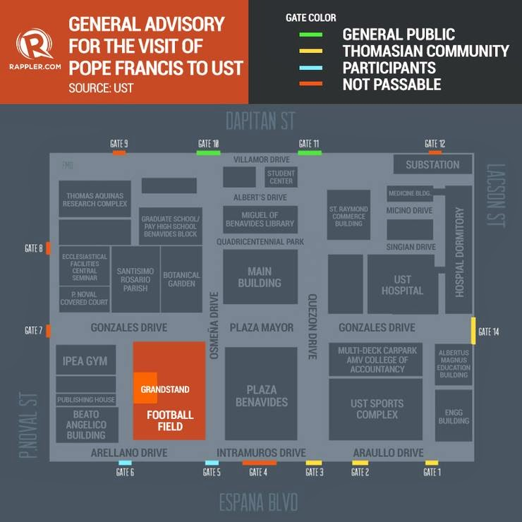 #‎USTPapalVisit‬ : General Advisory for the Visit of Pope Francis to UST