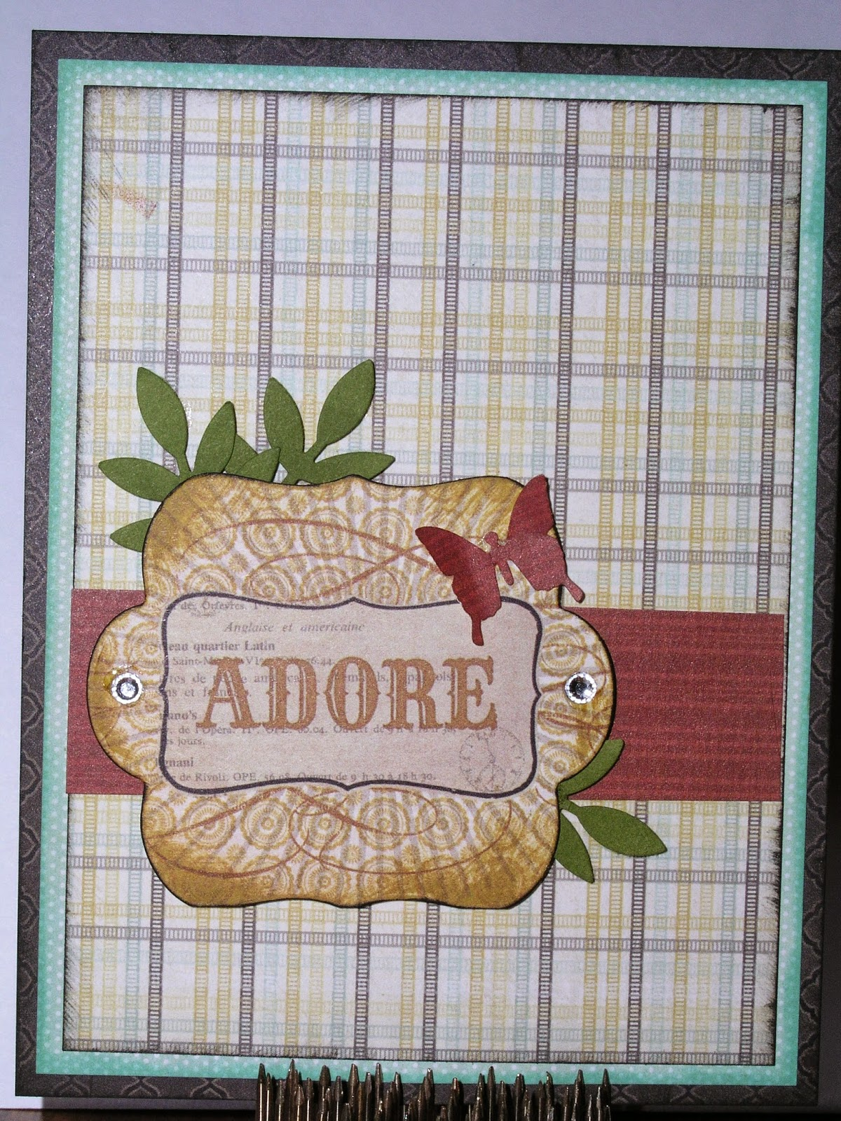 Greeting card using patterned paper and stamps
