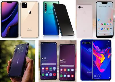 1. Samsung Galaxy F, Samsung Galaxy S10 (Release Date Februari 2019)  2. Sony Xperia XZ4  3. Nokia 9 PureView (February 2019)  4. Google Pixel 3 Lite (2019)  5. LG G8 Sprint 5G Phone (First half 2019)  6. Huawei 5G Foldable Phone  7. Motorola Razr (February 2019)  8. OnePlus 7 (Spring 2019)  9. Nokia 9 PureView (February 2019)  10. New iPhones models ( iPhone X 2019 iPhone 11)