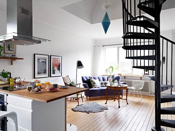 Hogares frescos apartamento de dos pisos ingeniosamente for Pisos para interiores de apartamentos