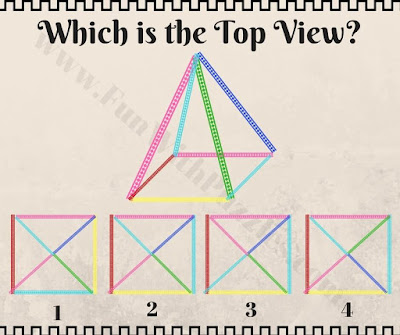 Picture puzzle to find top view of pyramid