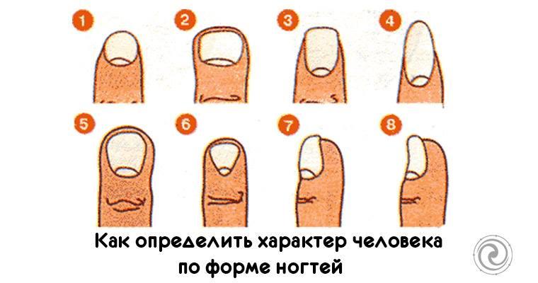 Характер форма ногтей
