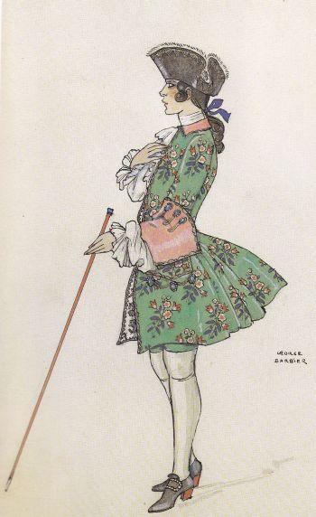 Rudolph Valentino Costume de George Barbier pour Monsieur Beaucaire 1924