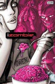 se ve a la protagonista en tonos grises rodeada de zombies en todos rosas, mientras comer un cerebro con una cuchara