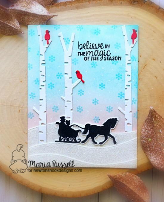 Winter silhouette card by Maria Russell | Winter Memories Stamp set and Forest Scene Builder Die Set by Newton's Nook Designs  #newtonsnook #handmade