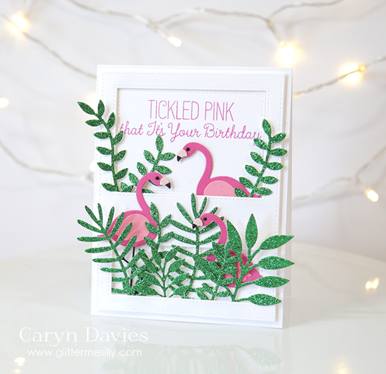 Laina Lamb Design Tickled Pink stamp set and Flamingo Die-namics and the Stitched Cover-Up Companion - Vertical Die-namics - Caryn Davies #mftstamps