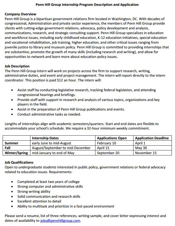 UMD GVPT E-News: Paid Penn Hill Winter/Spring 2015 Internships