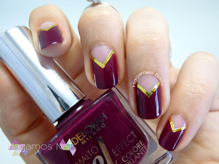 Nail Art Negative Space Morado. Hagamos Nails. Deborah Milano