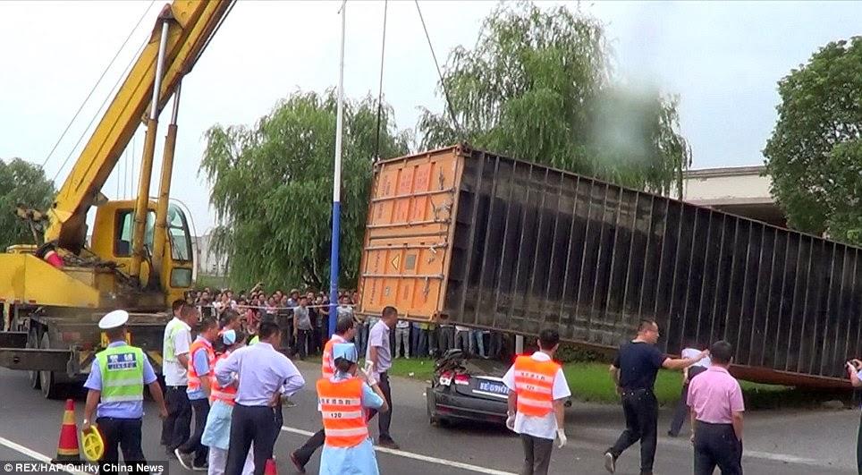 woman escape death container
