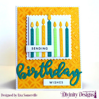 Divinity Designs Stamp/Die Duos: Birthday, Custom Dies: Double Stitched Rectangles, Pierced Rectangles, Squares Scalloped Squares, Rectangles, Birthday Candles, Mixed Media Stencils: Circles