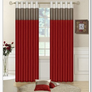 red and grey curtains with borders