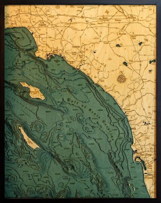 Depth Chart Custom Wood Map From Carved lake art