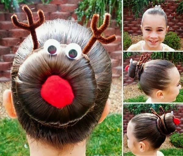 christmas hairstyles rudolph bun