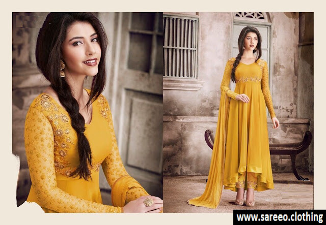 Anarkali Suit, Latest Anarkali Suit, Anarkali Salwar Kameez, Yellow Anarkali Salwar Kameez