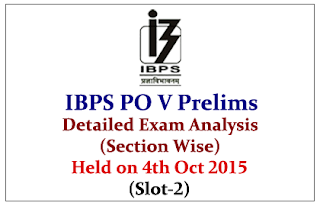 IBPS PO 2015 Prelims Exam Detailed Analysis (Section Wise) Held on 4th Oct 2015 (Slot-2)