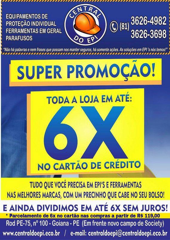 2a9ab174b Super Promoção da Central do EPI em até 6x sem juros no cartão de crédito