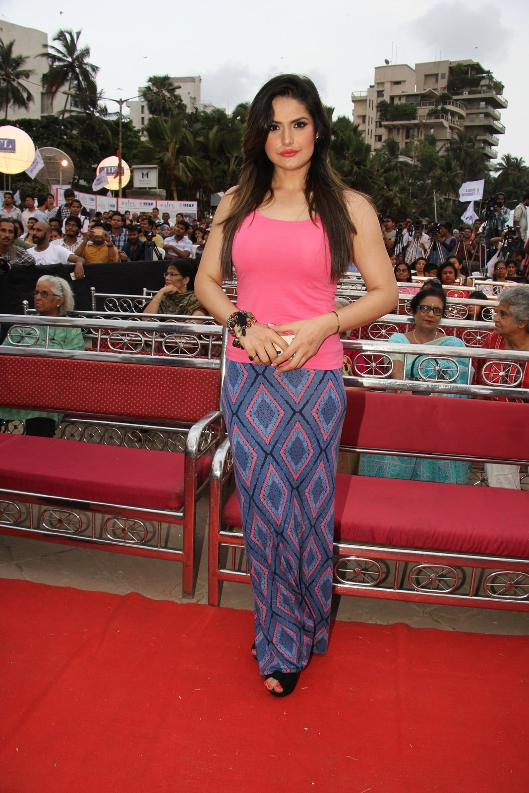Zarine Khan In Pink Dress At World Environment Day Event