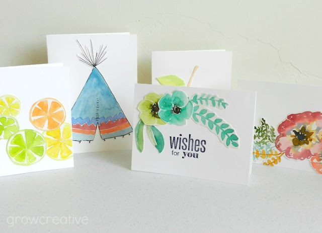 Watercolor Cut-out Cards: Grow Creative Blog
