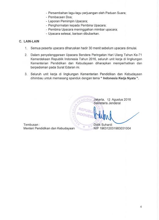 Surat Edaran Pedoman Penyelenggaraan Upacara Bendera HUT Ke-71 Kemerdekaan RI Tahun 2016 4