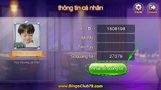 Thông tin cá nhân game Bingo Club