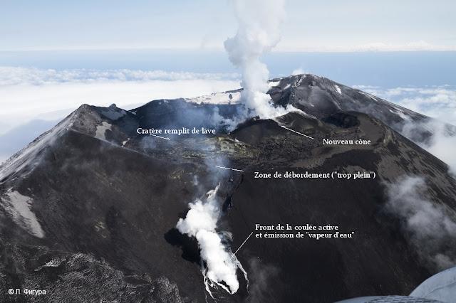 Le nouveau cône du volcan Alaid, 28 avril 2016,  L.Fugura-KVERT