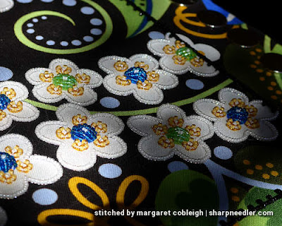 Showing off the sparkle on the white beads. (Wild Child Japanese Bead Embroidery by Mary Alice Sinton)