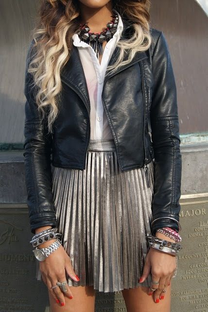cute outfit idea / leather jacket + shirt + silvet skirt